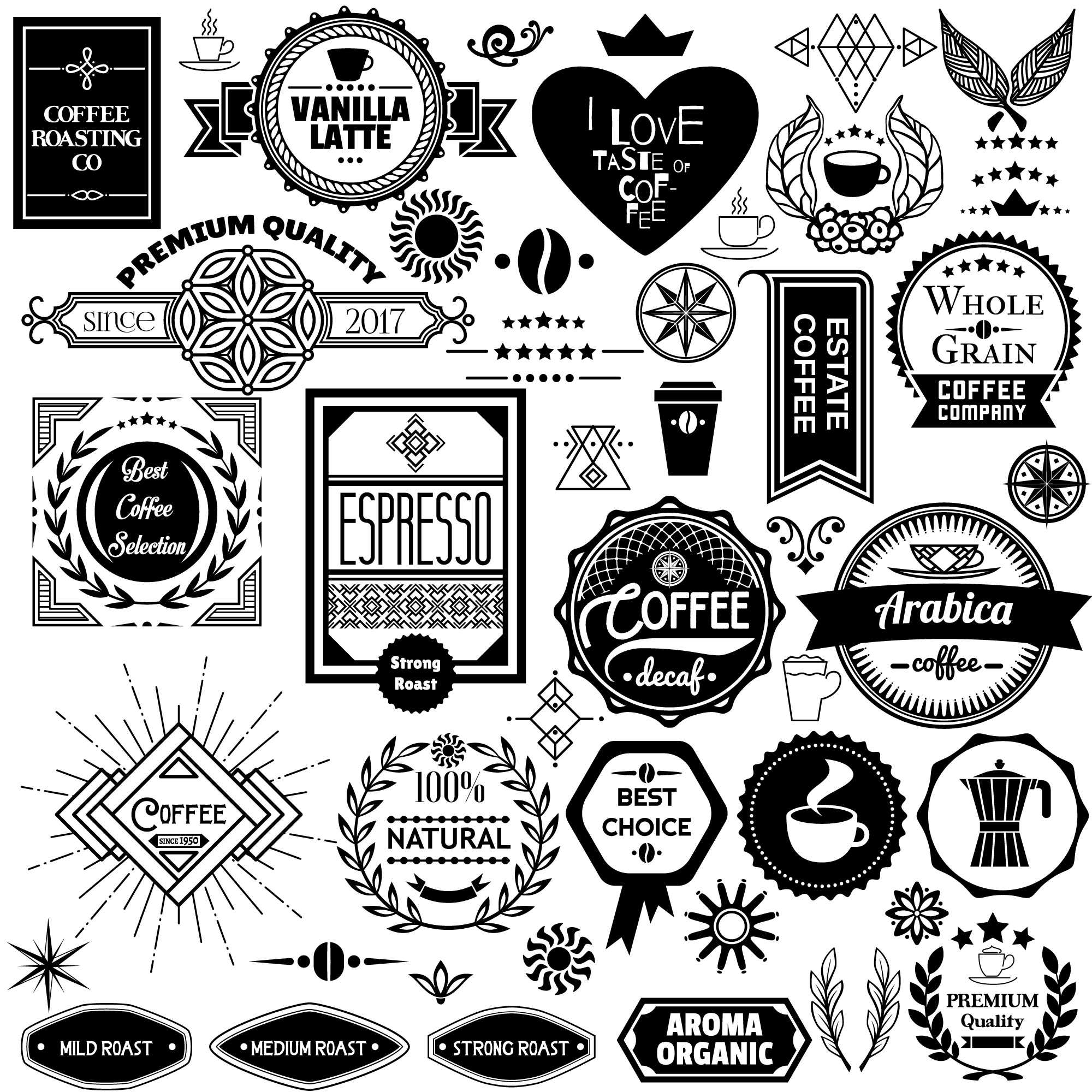 Set of coffee badges, labels and stickers