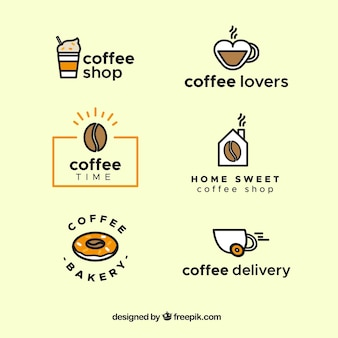 Set of coffee logos in linear style