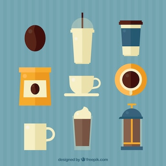 Set of coffee objects in flat design
