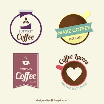 Set of coffee stickers
