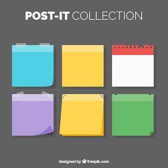 Set of color post-it in flat design