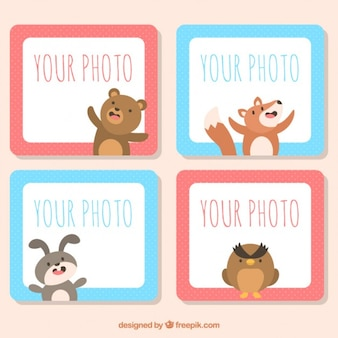 Set of colored animal photo frames