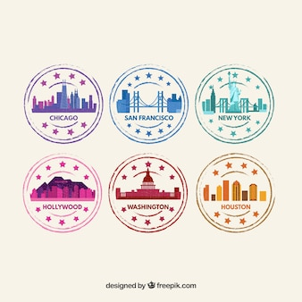 Set of colored city stamps in flat design