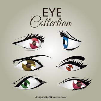 Set of colored female eyes