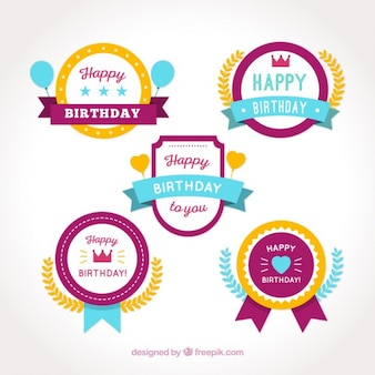 Set of colored happy birthday badges