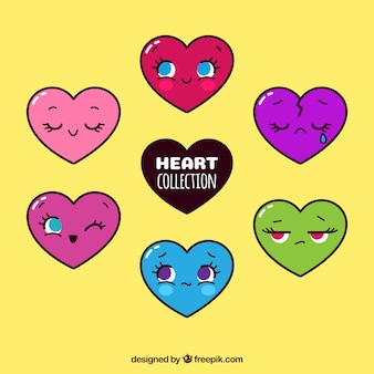 Set of colored hearts characters
