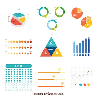 Set of colored infographic elements in flat design