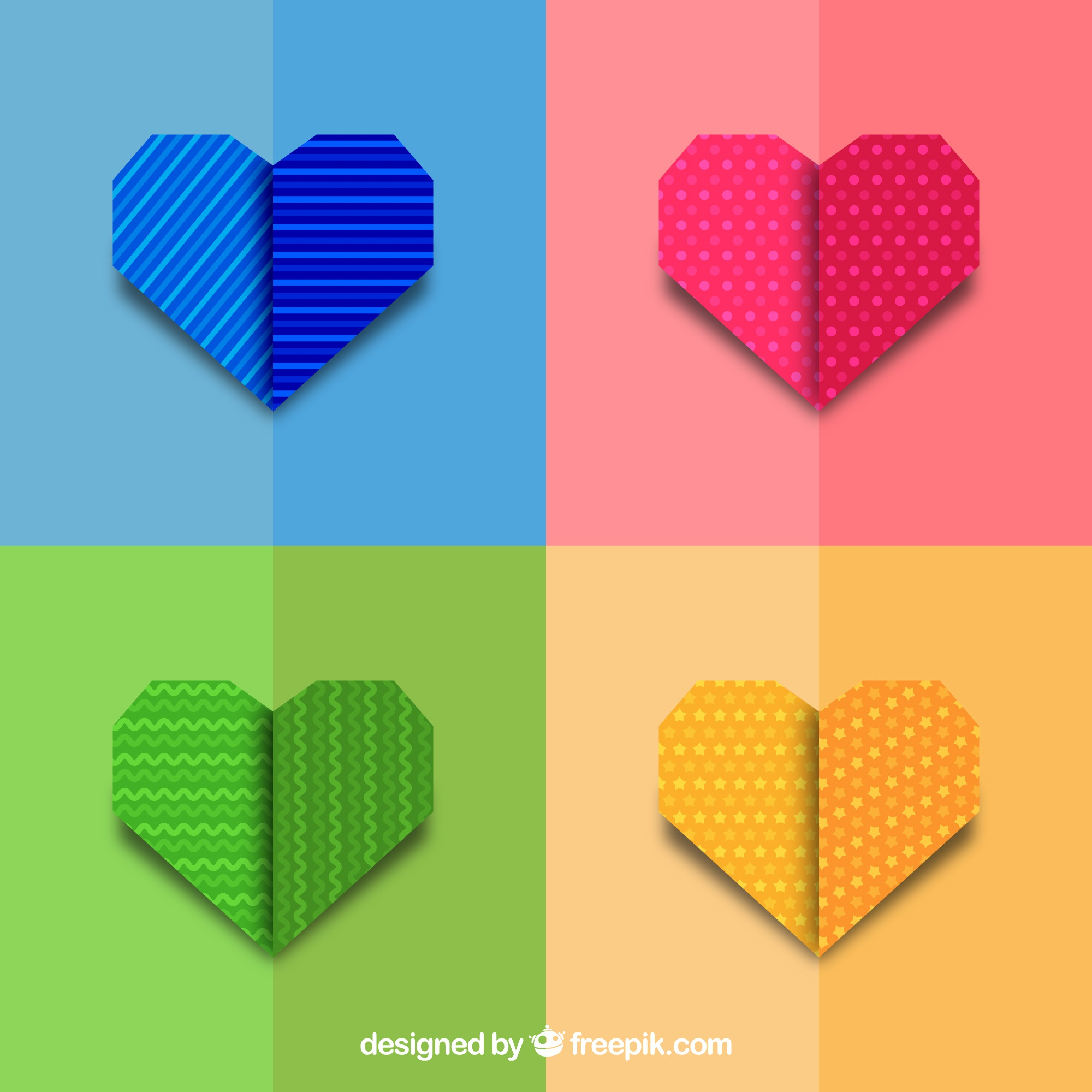Set of colored origami hearts