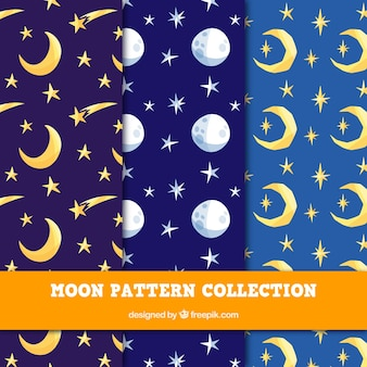 Set of colored patterns with moons and stars