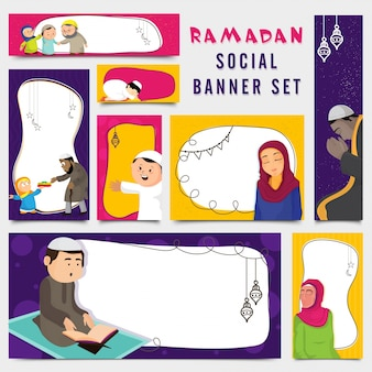 Set of colored ramadan banners with characters