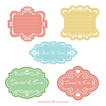 Set of colored wedding badges in vintage style