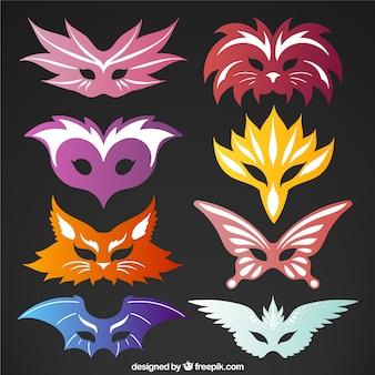 Set of colorful carnival masks