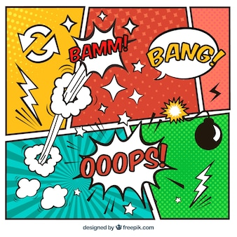 Set of colorful comic vignettes and speech bubbles