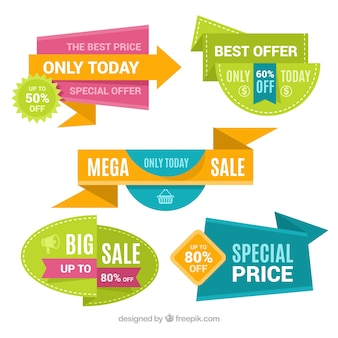 Set of colorful discount stickers