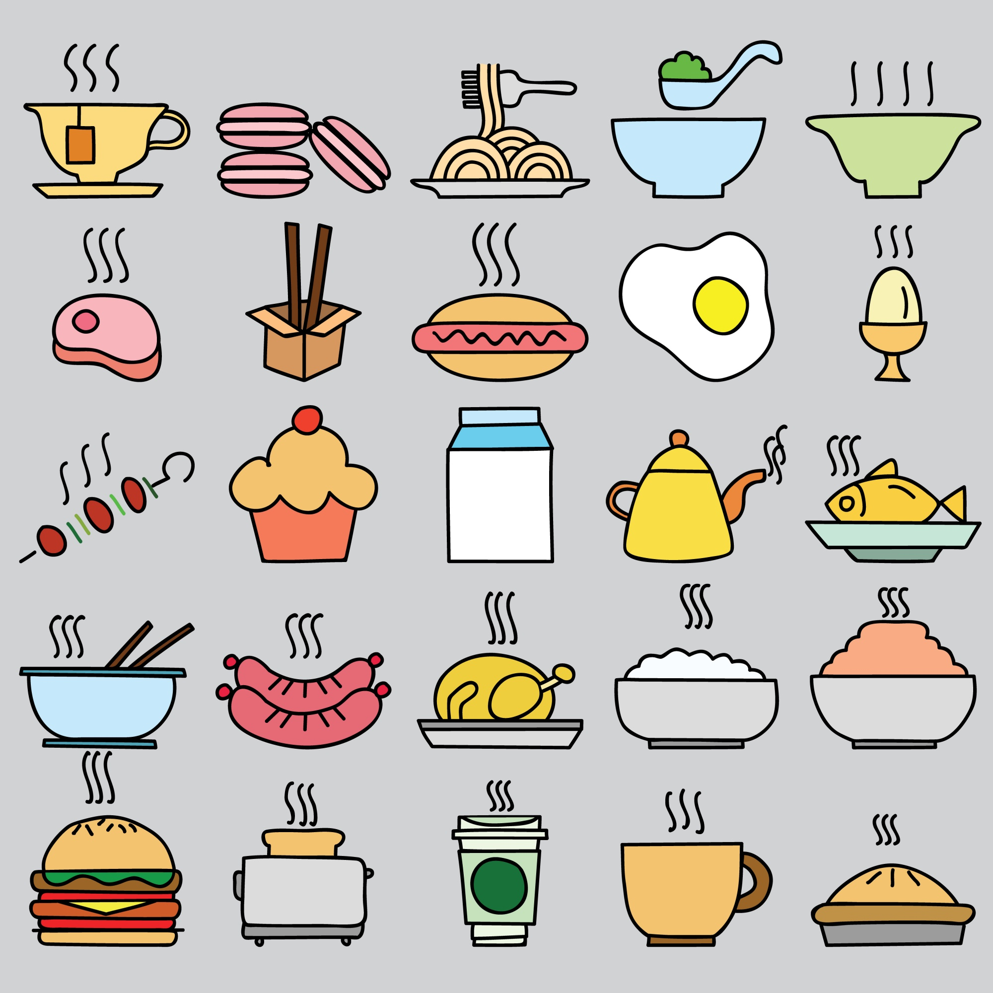 Set of colorful food icon. vector illustration