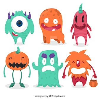set of colorful halloween monsters