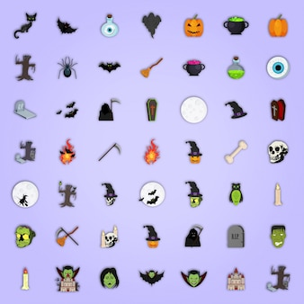 Set of Colorful icons for Halloween.