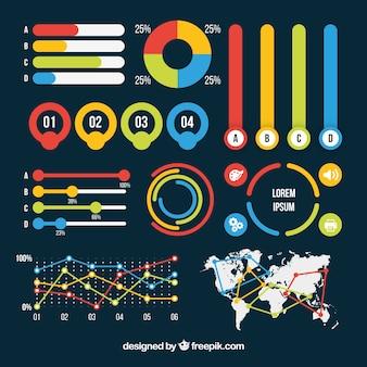 フラットデザインのカラフルな情報要素のセット