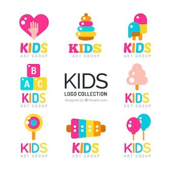 Set of colorful kids logos in flat design