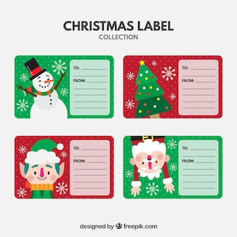 Set of colorful labels with christmas characters