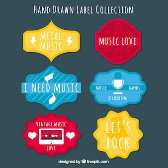Set of colorful music stickers in vintage style