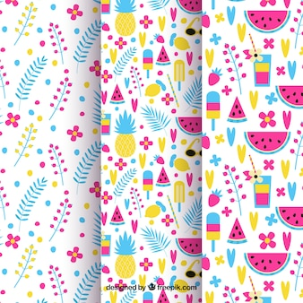 Set of colorful patterns of flowers and fruits