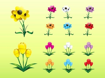 Set of colorful plants icons