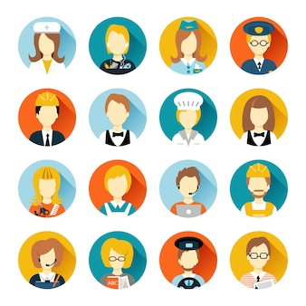 Set of colorful profession people flat style icons in circles with long shadows vector illustration