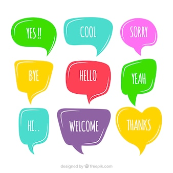 Set of colorful speech bubbles with words