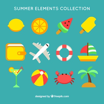 Set of colorful summer elements in flat design
