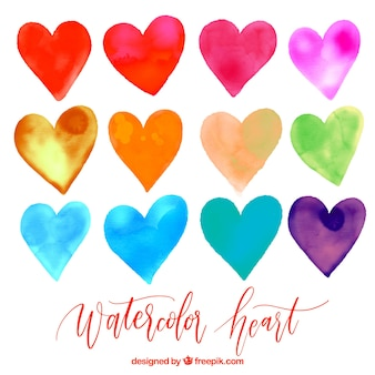 Set of colorful watercolor hearts