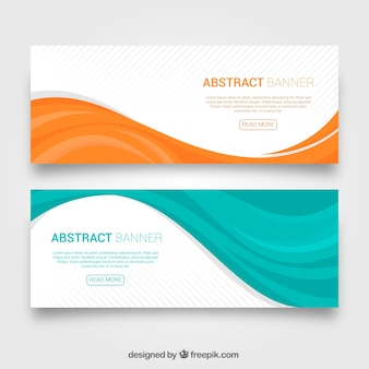 Set of colorful waves banners