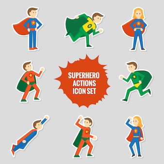 Set of comic character superheroes full body in sticker style vector illustration