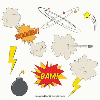 Set of comic effects and onomatopoeias