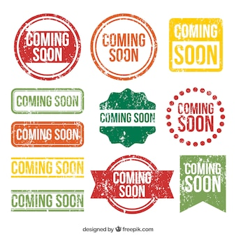 Set of coming soon stamps with variety of designs