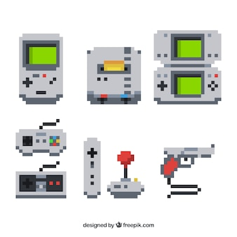 Set of consoles and pixelated video games element