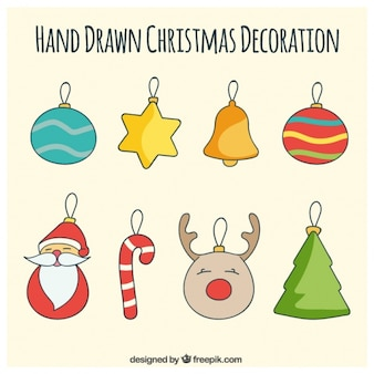 Set of creative hand drawn baubles