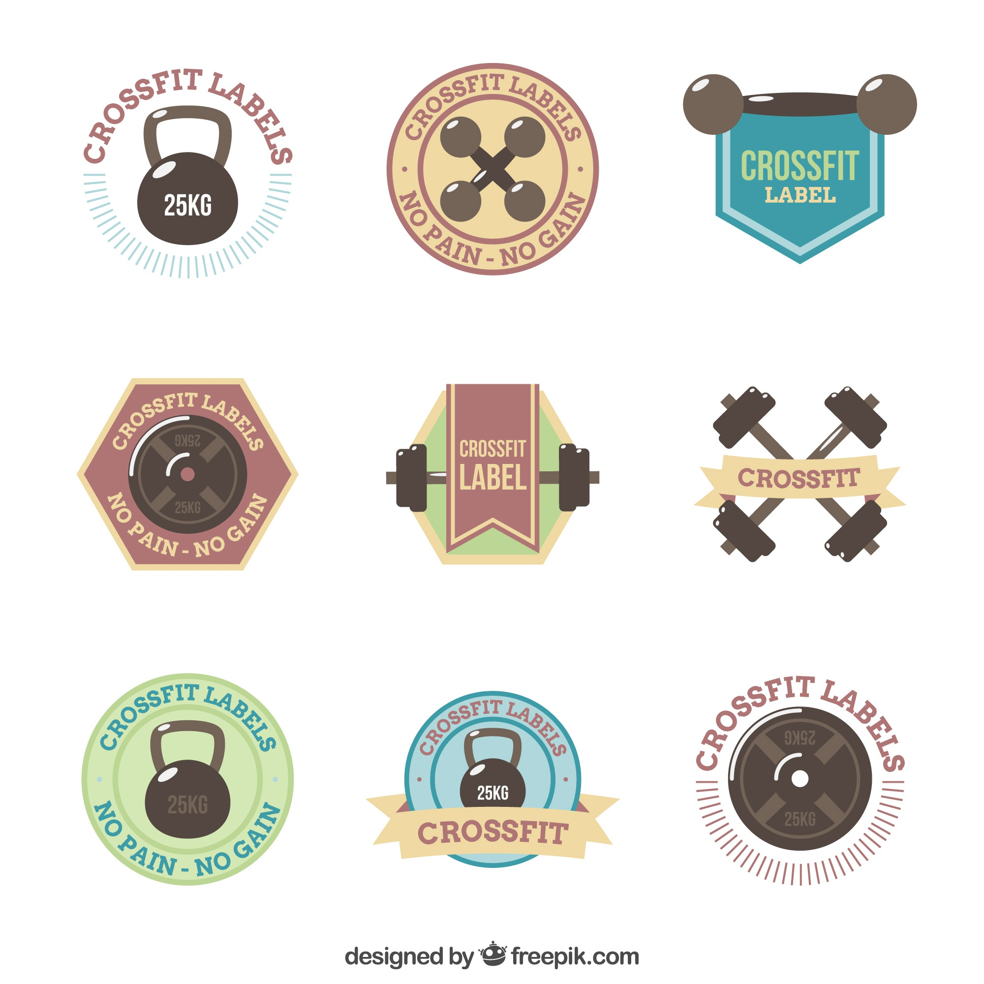 Set of crossfit stickers in vintage style