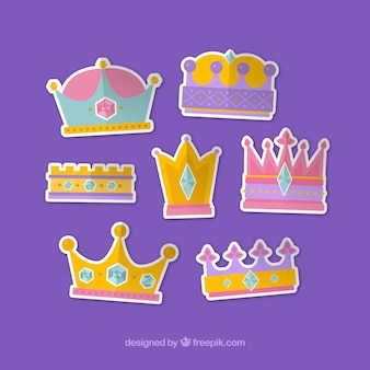 Set of crown stickers
