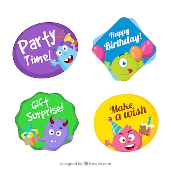 Set of cute birthday stickers with monsters