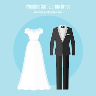 Set of cute brid dress and elegant wedding suit in flat design