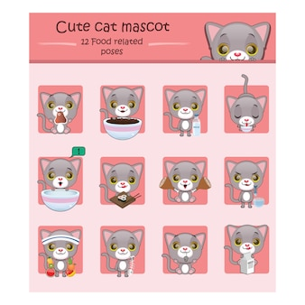 Set of cute cat mascots