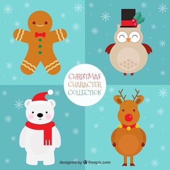 フラットデザインのキュートなクリスマスキャラクターのセット
