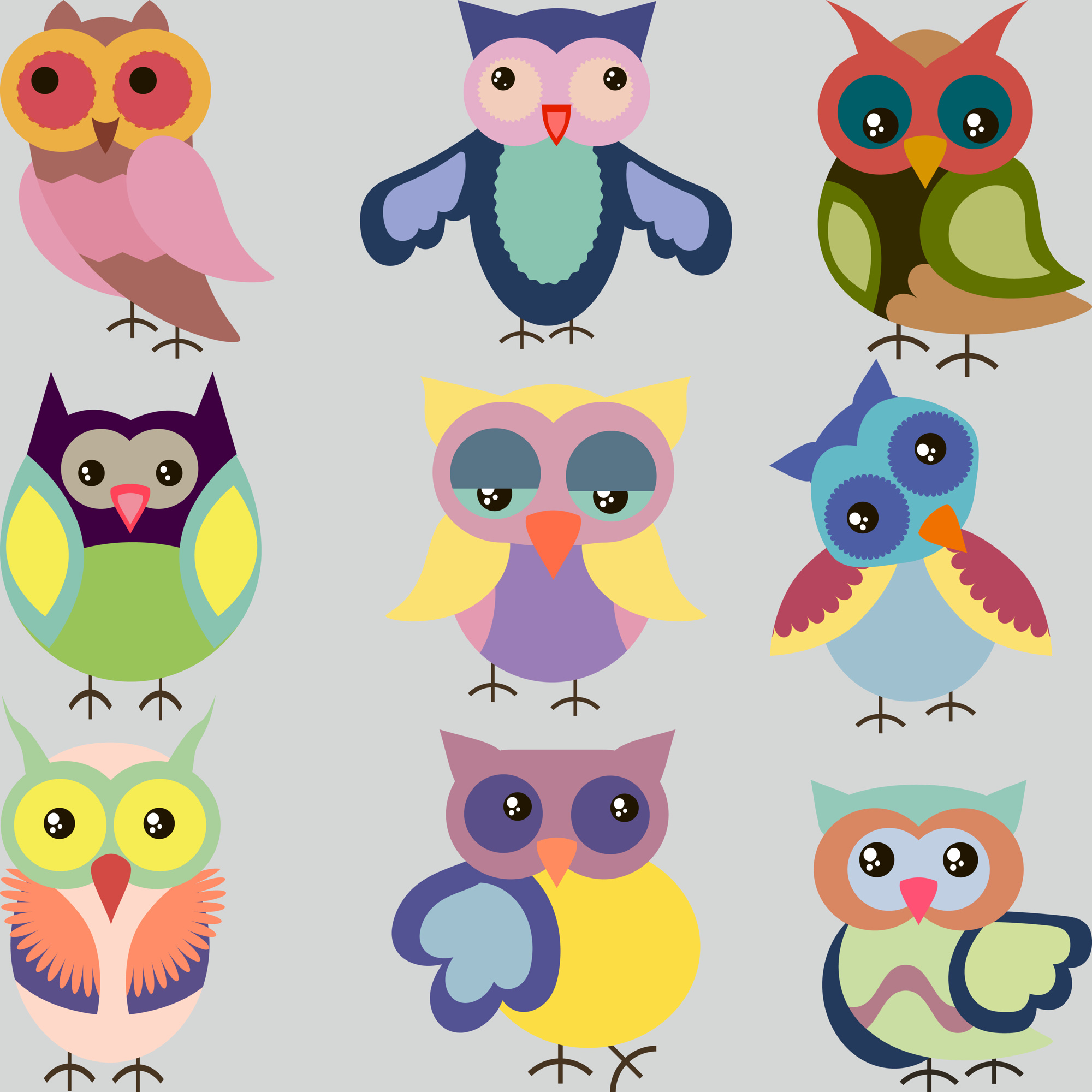 Set of cute colorful vector owls