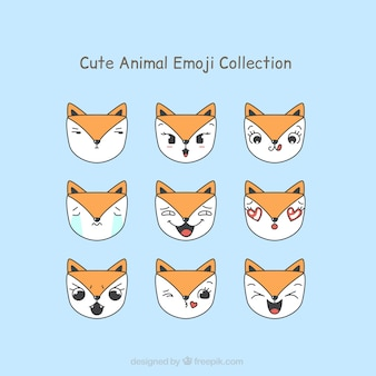 Set of cute fox emoticons