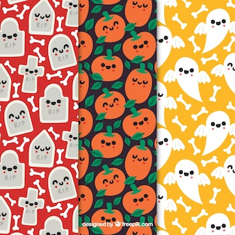 Набор милых паттернов Хэллоуина с симпатичными персонажами