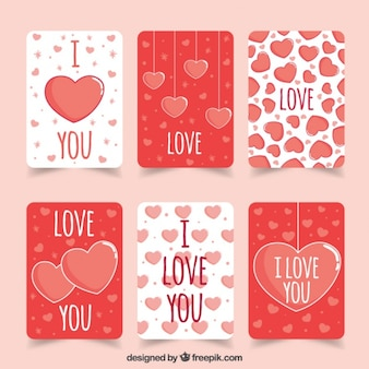 Set of cute love cards with hearts