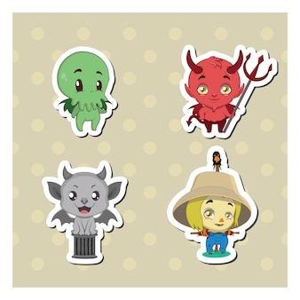Set of cute monster stickers