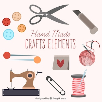 かわいい縫製要素のセット