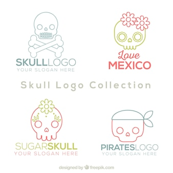 Set of cute skull logos